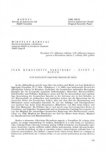 Ivan Kukuljević Sakcinski : život i djelo : Radovi Zavoda za znanstveni rad Varaždin