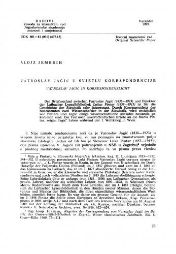 Vatroslav Jagić u svjetlu korespondencije : Radovi Zavoda za znanstveni rad Varaždin