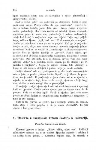Visočane u zadarskom kotaru (Kotari) u Dalmaciji : ženidbeni običaji : Zbornik za narodni život i običaje
