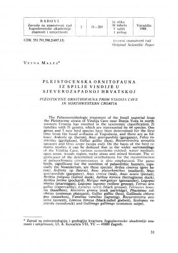 Pleistocenska ornitofauna iz spilje Vindije u sjeverozapadnoj Hrvatskoj : Radovi Zavoda za znanstveni rad Varaždin