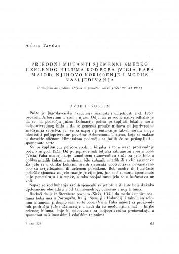Prirodni mutanti sjemenki smeđeg i zelenog hiluma kod boba (Vicia Faba maior), njihovo korišćenje i modus nasljeđivanja