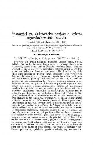 Spomenici za dubrovačku povjest u vrieme ugarsko-hrvatske zaštite : (dodatak VII. knj. Rada, str. 180-260) / Petar Matković