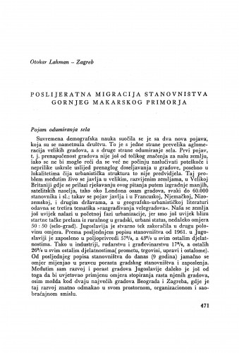 Poslijeratna migracija stanovništva gornjeg Makarskog primorja / O. Lahman