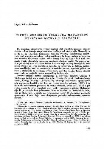 Tipovi muzičkog folklora mađarskog etničkog ostrva u Slavoniji / L. Kiš