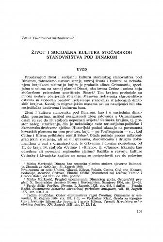 Život i socijalna kultura stočarskog stanovništva pod Dinarom / Vesna Čulinović-Konstantinović