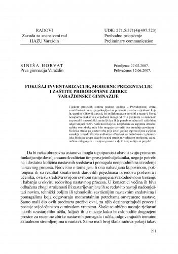 Pokušaj inventarizacije, moderne prezentacije i zaštite Prirodopisne zbirke varaždinske gimnazije : Radovi Zavoda za znanstveni rad Varaždin