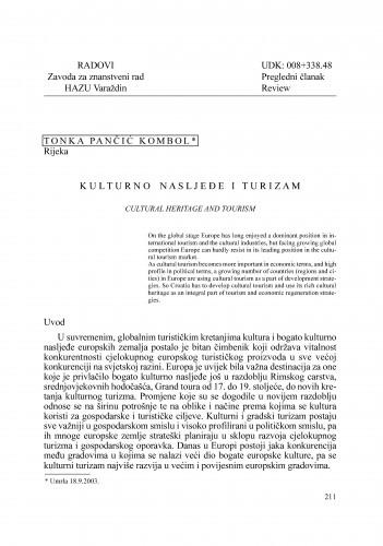 Kulturno nasljeđe i turizam : Radovi Zavoda za znanstveni rad Varaždin