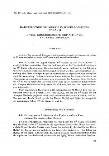 Darstellende Geometrie im hyperbolischen H3-Raum. I. Teil: Grundbegrife, Definitionen, Lagenbeziehungen