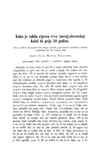 Kako je rabila riječca črez (novoj) slovenskoj kńizi do prije 50 godina