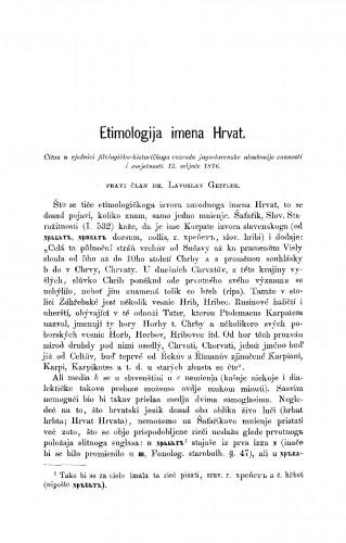 Etimologija imena Hrvat : RAD