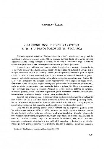 Glazbene mogućnosti Varaždina u 18. i prvoj polovini 19. stoljeća