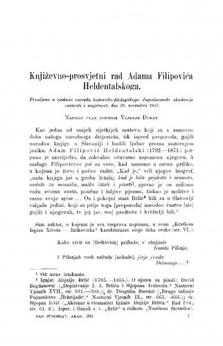 Književno-prosvjetni rad Adama Filipovića Heldentalskoga