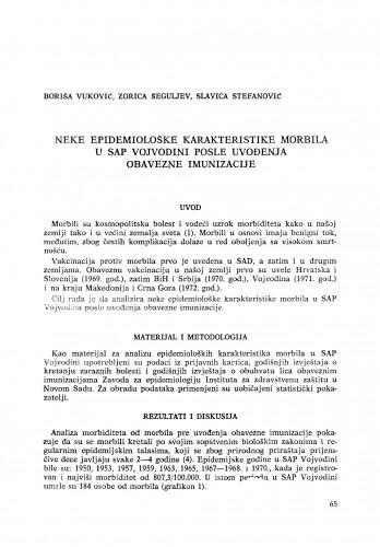 Neke epoidemiološke karakteristike morbila u SAP Vojvodini posle uvođenja obavezne imunizacije