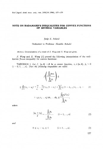 Note on Hadamard's inequalities for convex functions of several variables
