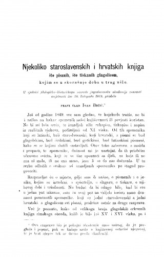 Njekoliko staroslavenskih i hrvatskih knjiga što pisanih, što tiskanih glagolicom, kojim se u skorašnje doba u trag ušlo : RAD