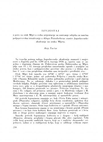 Izvještaj o putu na otok Mljet u svrhu orijentacije za osnivanje odsjeka za naučna poljoprivredna istraživanja u sklopu Prirodoslovne stanice Jugoslavenske akademije na otoku Mljetu / A. Tavčar