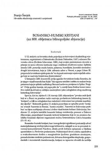 Bosansko-humski krstjani (uz 800. obljetnicu bilinopoljske abjuracije)