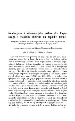 Geologijske i hidrografijske prilike oko Topuskoga s osobitim obzirom na topuske terme