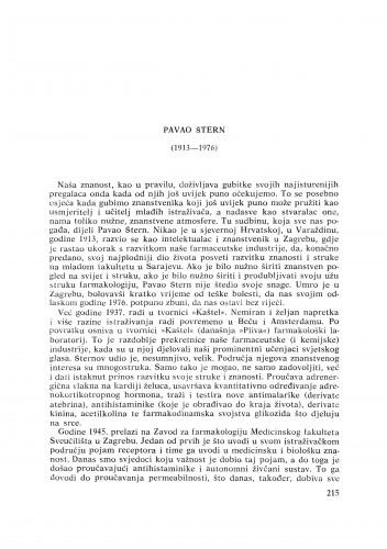 Pavao Štern (1913-1976) : [nekrolozi] / N. Allegretti