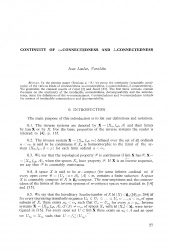 Continuity of ω-connectedness an λ-connectedness
