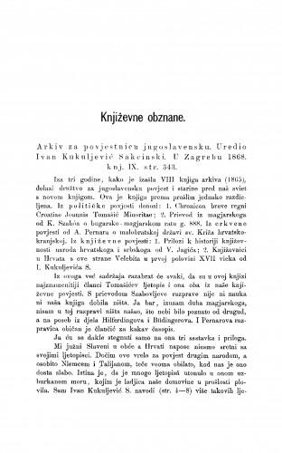 Arkiv za povjestnicu jugoslavensku. Uredio Ivan Kukuljević Sakcinski. U Zagrebu 1868., knj. IX : [književna obznana] : RAD
