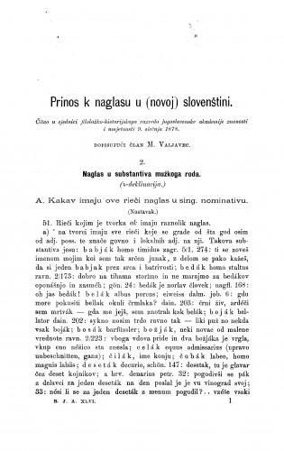 Prinos k naglasu  u (novoj) slovenštini [nastavak] : RAD