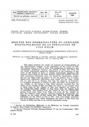 Analyse des dermatoglyphes du complexe digito-palmaire de la population de l'île d'Olib