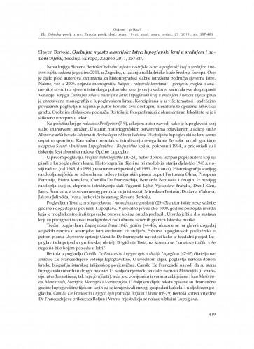 Slaven Bertoša, Osebujno mjesto austrijske Istre: lupoglavski kraj u srednjem i novom vijeku, Srednja Europa, Zagreb 2011. : : [prikaz] : Zbornik Odsjeka za povijesne znanosti Zavoda za povijesne i društvene znanosti Hrvatske akademije znanosti i umjetnosti