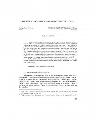 Inventar spisa samostana klarisa sv. Nikole u Zadru : Radovi Zavoda za povijesne znanosti HAZU u Zadru
