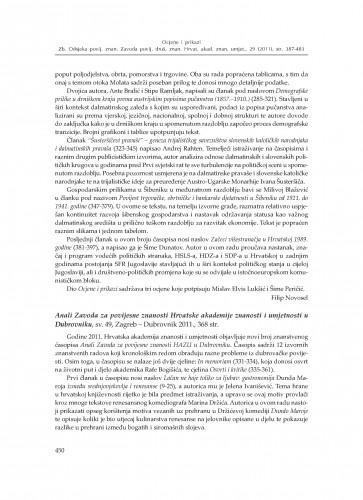 Anali Zavoda za povijesne znanosti Hrvatske akademije znanosti i umjetnosti u Dubrovniku, sv. 49, Zagreb - Dubrovnik 2011. : [prikaz] : Zbornik Odsjeka za povijesne znanosti Zavoda za povijesne i društvene znanosti Hrvatske akademije znanosti i umjetnosti