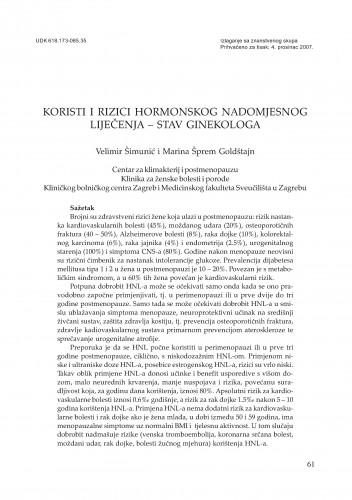 Koristi i rizici hormonskog nadomjesnog liječenja - stav ginekologa : Posebna izdanja HAZU. Prilozi za strategiju hrvatskog razvoja