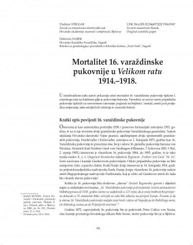 Mortalitet 16. varaždinske pukovnije u Velikom ratu 1914.-1918 : Posebna izdanja / Hrvatska akademija znanosti i umjetnosti, Zavod za znanstveni rad u Varaždinu