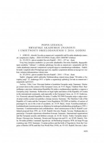 Popis izdanja Hrvatske akademije znanosti i umjetnosti objelodanjenih u 2014. godini : Ljetopis