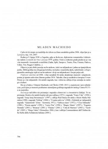 Mladen Machiedo : Ljetopis