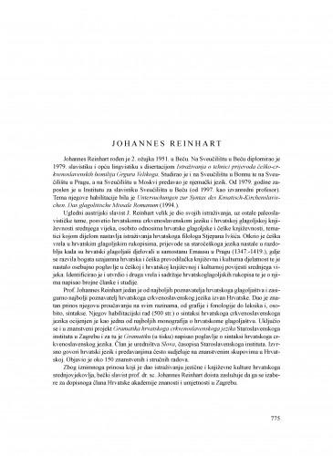 Johannes Reinhart : Ljetopis