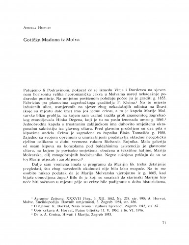 Gotička Madona iz Molva : Bulletin Razreda za likovne umjetnosti Hrvatske akademije znanosti i umjetnosti