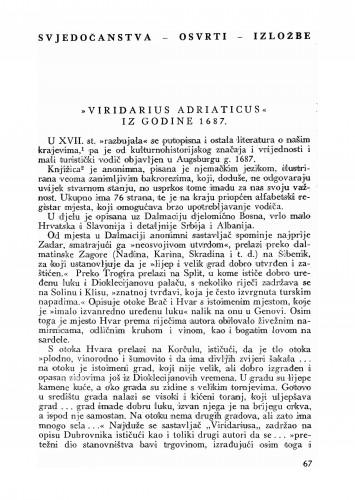 Viridarius Adriaticus iz godine 1673 : Bulletin Odjela VII. za likovne umjetnosti Jugoslavenske akademije znanosti i umjetnosti