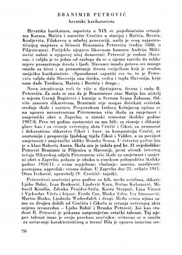 Branimir Petrović : Bulletin Zavoda za likovne umjetnosti Jugoslavenske akademije znanosti i umjetnosti