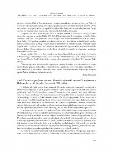 Anali Zavoda za povijesne znanosti Hrvatske akademije znanosti i umjetnosti u Dubrovniku, sv. 48, Zagreb – Dubrovnik 2010. : [prikaz] : Zbornik Odsjeka za povijesne znanosti Zavoda za povijesne i društvene znanosti Hrvatske akademije znanosti i umjetnosti