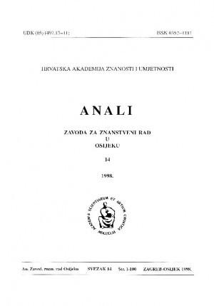 Sv. 14 (1998) : Anali Zavoda za znanstveni i umjetnički rad u Osijeku