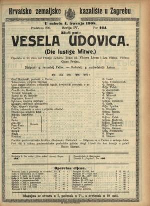 Vesela udovica Opereta u tri čina  =  Die lustige Witwe