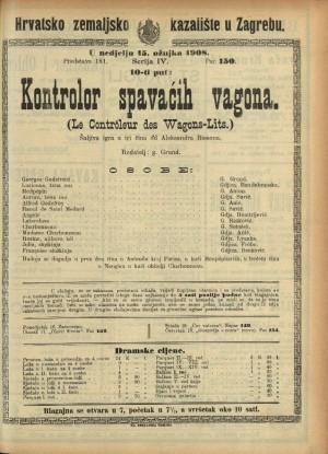 Kontrolor spavaćih vagona Šaljiva igra u 3 čina / od Aleksandra Bissona  =  (Le controleur des wagons-lits)
