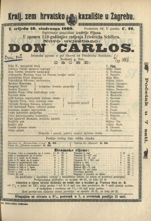Don Carlos Dramska pjesan u pet činova  =  Don Carlos, Infant von Spanien