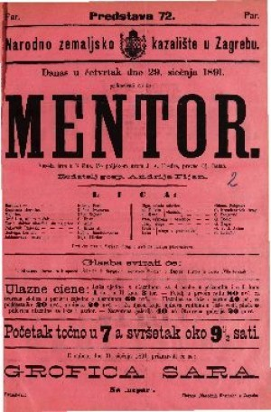 Mentor Vesela igra u 3 čina / Po poljskom grofa J. A. Fredra