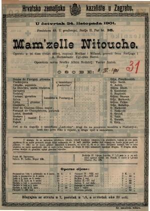 MAM'ZELLE NITOUCHE opereta u tri čina (4 slike) / napisao M. K. Dimitrijević