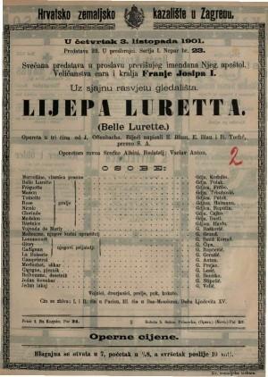 Lijepa Luretta komična opereta u tri čina / od Jacquesa Offenbacha