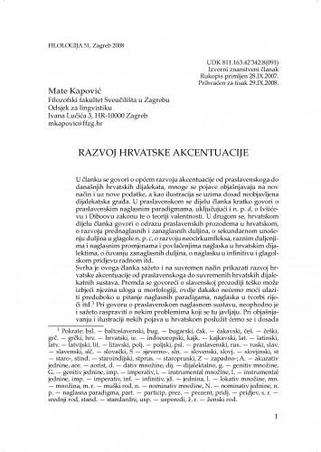 Razvoj hrvatske akcentuacije : Filologija : časopis Razreda za filološke znanosti Hrvatske akademije znanosti i umjetnosti