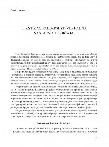 Tekst kao palimpsest: verbalna sastavnica običaja : Krležini dani u Osijeku