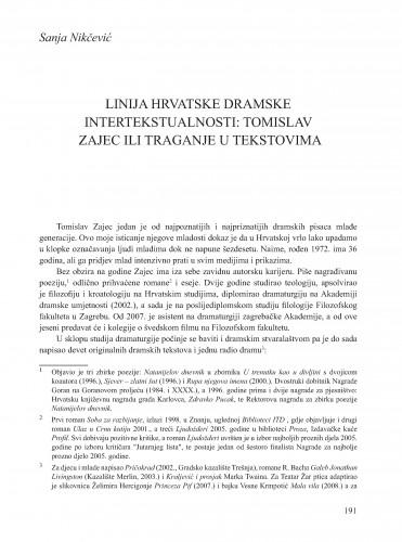 Linija hrvatske dramske intertekstualnosti: Tomislav Zajec ili traganje u tekstovima : Krležini dani u Osijeku