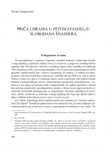 Priča i drama u Petom evanđelju Slobodana Šnajdera : Krležini dani u Osijeku